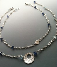 Blue Mist Double Two Strand Necklace Gemstone Beaded Hammered Sterling Silver