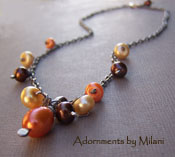 Ode to Summer - Orange, Brown, and Buttercup Autumn Fall Sterling Necklace