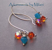 Santa Fe Sunset - Orange, Red, and Blue Crystal Bling Sterling Silver Earrings