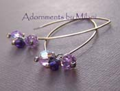 Violet Innuendos - Purple Earrings Lavender Beaded Sparkly Sterling Silver