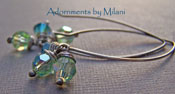 Sea of Color - Marine Blue and Seaglass Green Crystal Sterling Silver Earrings