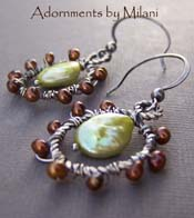 Crisp Autumn Leaves - Hazelnut Brown and Key Lime Green Pearl Earrings