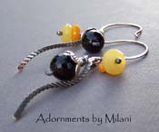 Halloween Sunset - Pumpkin Orange, Moon Yellow, and Midnight Black Boutique Earrings