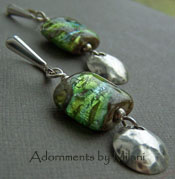 Emerald Isle Earrings II - Sparkling Green Lampwork Glass Artisan Boutique Jewelry