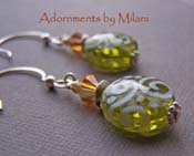 Olea Olive Green Earrings Caramel Topaz Brown Lampwork Artisan Glass Sterling Silver Boutique Jewelry