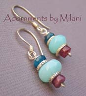 Under the Graceful Sky - Blue Peruvian Opal, Tourmaline, Apatite Earrings