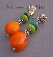 Jumbalaya - Orange Green Blue Earrings Chunky Sterling Silver Boutique Jewelry