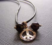 Peace Necklace - Black Leather Cord Hammered Sterling Silver Pearl Jewelry