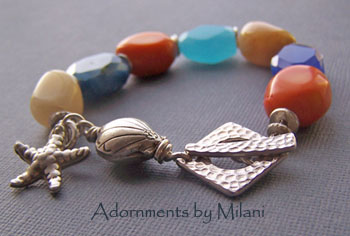 Seaside Contemplations - Blue Orange Beige Seashells Beach Bracelet Jewelry