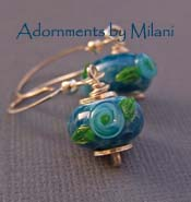Roses are Blue Earrings - Glass Lampwork Flower Sterling Boutique Jewelry