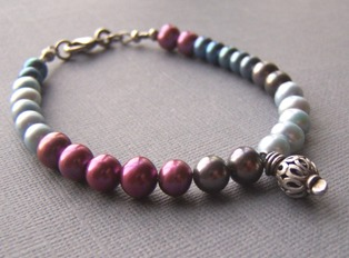 Unassuming - Blue, Gray, Mauve Pearl Bracelet Sterling Boutique Jewelry