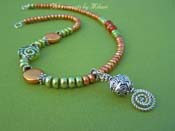 Olea Necklace Olive Green Artisan Glass Jewelry Matching Bracelet and Earrings Beaded