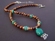 Santa Fe- Blue Turquoise Brown Pearl Necklace