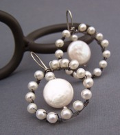A Silhouette of Pearls - Artisan Hoop Earrings Sterling Boutique Jewelry