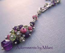 Jardin de Monet - Amethyst, Peridot, Ruby Necklace Jewelry