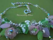 Longing for Love Necklace - Pink and Green Lampwork Glass Charm Jewelry