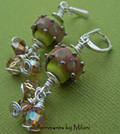 Sage - Olive Green Lampwork Glass Boutique Earrings