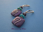 Morado - Purple Jasper Blue Turquoise Stone Earrings