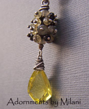 Sweet Elixir Necklace Black Gray and Yellow Gemstones Beaded Rustic Boutique Jewelry
