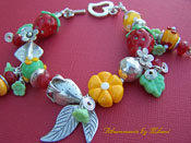 Strawberries in my Garden Lampwork Bracelet