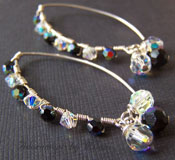 Noche Earrings  - Black and Crystal Sterling Silver Boutique Sparkly Jewelry