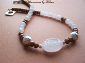 Glow - Caramel Brown Pearl Necklace Pink Quartz Sterling Silver