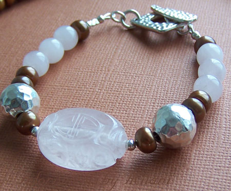 Glow - Caramel Brown Pearls Bracelet Pink Quartz