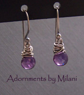 Plum Purple Earrings - Tiny Small Amethyst Sterling Boutique Jewelry