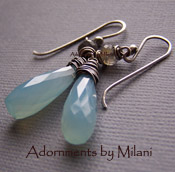 Collision of Color - Blue Chalcedony Gray Labradorite Earrings