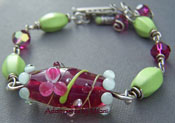 Japanese Pond Bracelet Fuchsia Pink & Green Glass Artisan Boutique Jewelry Unique Beaded Chunky