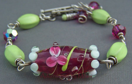 Japanese Pond Bracelet - Lampwork Glass Artisan Boutique Jewelry