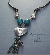 Turquoise Island Heart Necklace - Smoky Brown Blue Boutique Jewelry