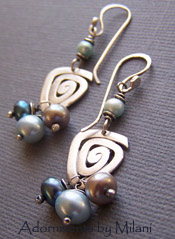 Unassuming - Blue Gray Pearl Earrings Sterling Boutique Jewelry