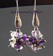 Thunderstorm Earrings - Purple Amethyst Grey Labradorite Gemstone Jewelry