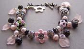 Pua Nani - Pink Black Bracelet Lampwork Flower Wrist Lei Artisan