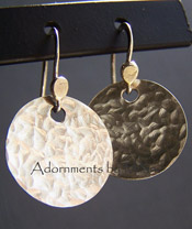 Water Vapor Earrings - Hammered Sterling Silver Jewelry