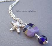 Tidepools - Purple Seashell Lampwork Glass Necklace