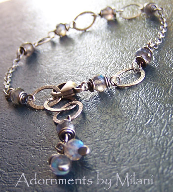 Morning Haze - Gray Labradorite Gemstone Bracelet