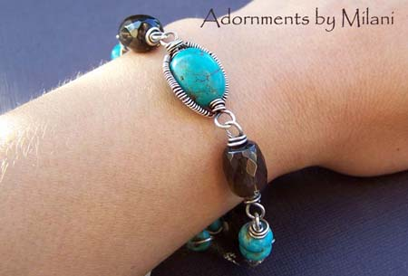 Upolu Island Turquoise Bracelet Blue Brown Beaded Sterling Silver