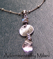Subtleties Necklace - Lavender Purple Amethyst Gray Labradorite