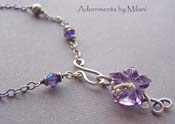 Purple Hawaiian Necklace - Hibiscus Flower Lampwork  Glass
