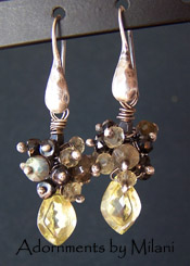 Sweet Elixir Earrings Yellow Gray Black Spinel Labradorite Gemstones