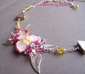 Pualani Hawaiian Necklace Pink Flower Floral Artisan Lampwork Glass Beaded Chunky Unique Wedding Jewelry