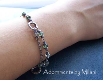Awaiting Fall-  Green Bracelet Apatite Amethyst Gemstone
