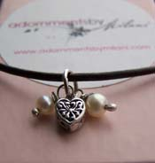 Teeny Tiny Heart Necklace - Small Pearls Black Leather Cord