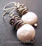 Empress Earrings Coin Pearl Sterling Silver Beaded