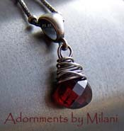 Red is for Love - Simple Small Garnet Pendant Necklace