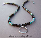 Nouveau Cowgirl - Turquoise and Onyx Necklace