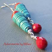 Blast of Poppy - Blue Turquoise Red Quartz Boutique Earrings