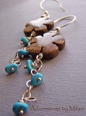 Leina'ala - Blue Turquoise Brown Flower Hawaiian Earrings